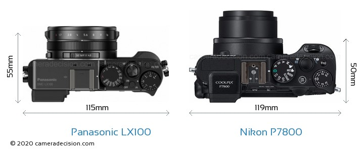 Panasonic LX100 vs Nikon P7800 Camera Size Comparison - Top View