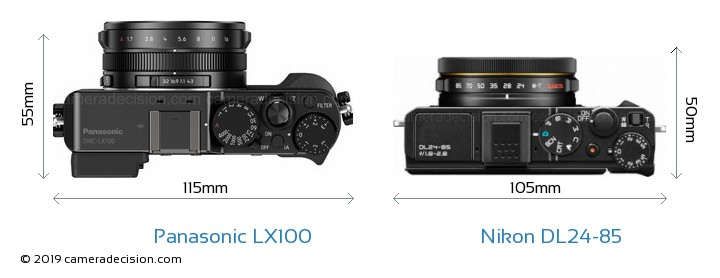Panasonic LX100 vs Nikon DL24-85 Camera Size Comparison - Top View