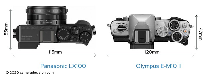 Panasonic LX100 vs Olympus E-M10 II Camera Size Comparison - Top View