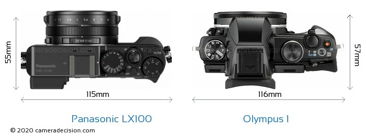Panasonic LX100 vs Olympus 1 Camera Size Comparison - Top View