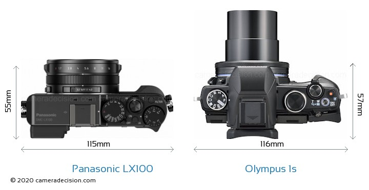 Panasonic LX100 vs Olympus 1s Camera Size Comparison - Top View