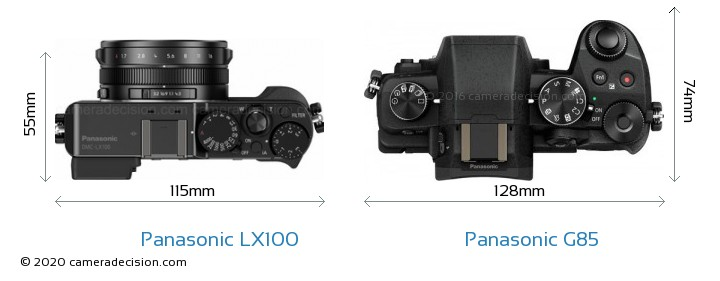 Panasonic LX100 vs Panasonic G85 Camera Size Comparison - Top View
