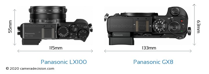 Panasonic LX100 vs Panasonic GX8 Camera Size Comparison - Top View