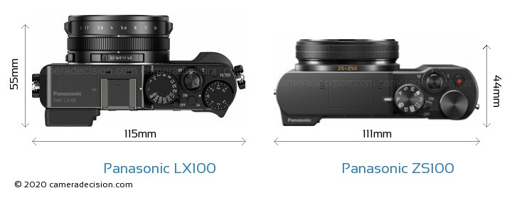 Panasonic LX100 vs Panasonic ZS100 Camera Size Comparison - Top View