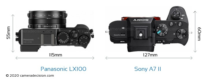 Panasonic LX100 vs Sony A7 II Camera Size Comparison - Top View