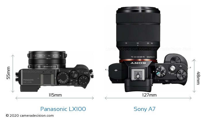 Panasonic LX100 vs Sony A7 Camera Size Comparison - Top View