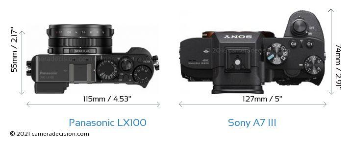 Panasonic LX100 vs Sony A7 III Camera Size Comparison - Top View