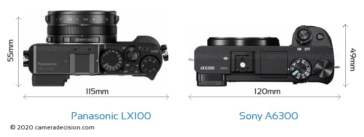 Panasonic LX100 vs Sony A6300 Camera Size Comparison - Top View