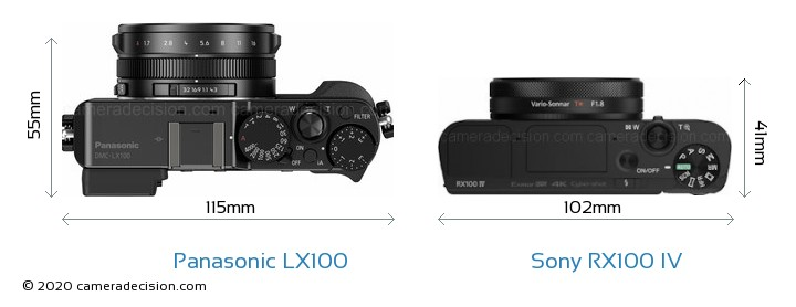Panasonic LX100 vs Sony RX100 IV Camera Size Comparison - Top View