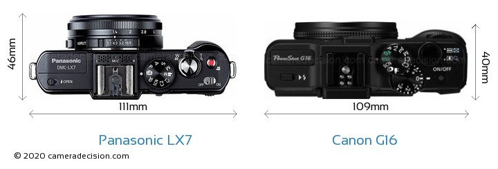 Panasonic LX7 vs Canon G16 Camera Size Comparison - Top View