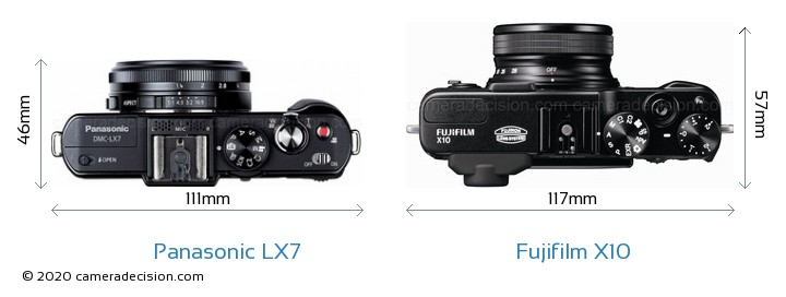 Panasonic LX7 vs Fujifilm X10 Camera Size Comparison - Top View