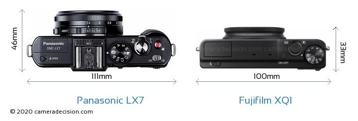 Panasonic LX7 vs Fujifilm XQ1 Camera Size Comparison - Top View
