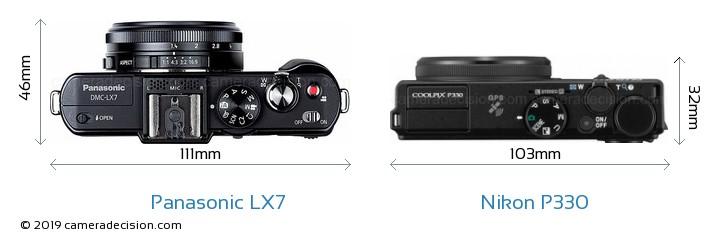 Panasonic LX7 vs Nikon P330 Camera Size Comparison - Top View