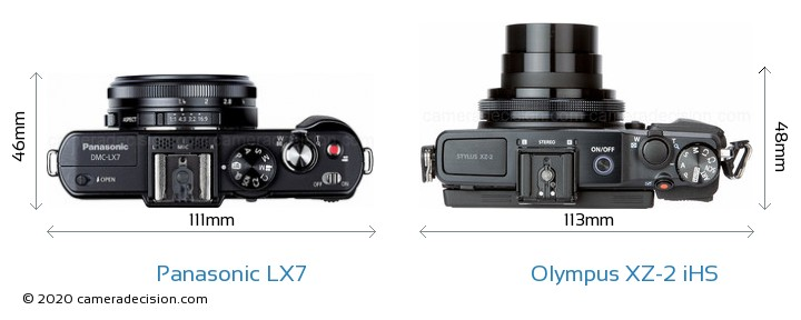 Panasonic LX7 vs Olympus XZ-2 iHS Camera Size Comparison - Top View