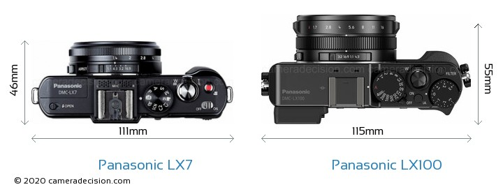 Panasonic LX7 vs Panasonic LX100 Camera Size Comparison - Top View