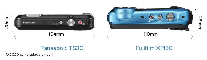Panasonic TS30 vs Fujifilm XP130 Camera Size Comparison - Top View