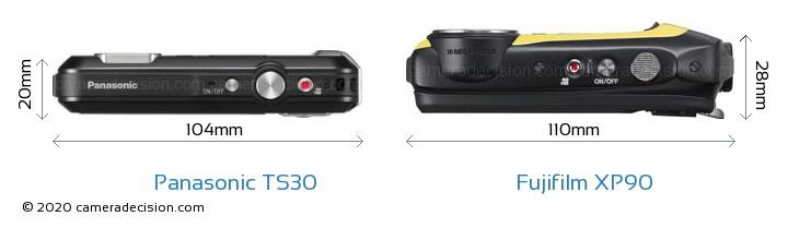 Panasonic TS30 vs Fujifilm XP90 Camera Size Comparison - Top View