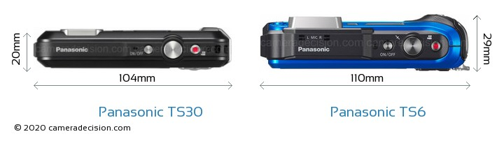 Panasonic TS30 vs Panasonic TS6 Camera Size Comparison - Top View