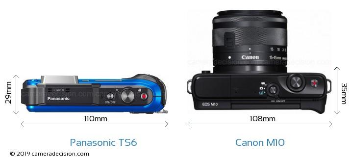 Panasonic TS6 vs Canon M10 Camera Size Comparison - Top View