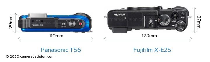 Panasonic TS6 vs Fujifilm X-E2S Camera Size Comparison - Top View