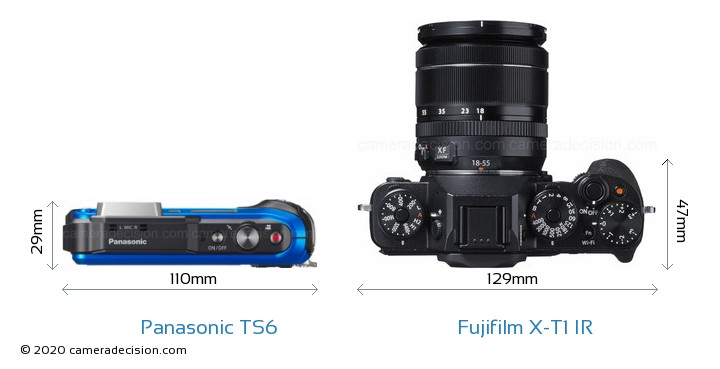 Panasonic TS6 vs Fujifilm X-T1 IR Camera Size Comparison - Top View