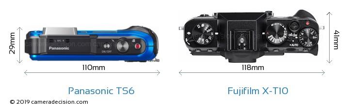 Panasonic TS6 vs Fujifilm X-T10 Camera Size Comparison - Top View