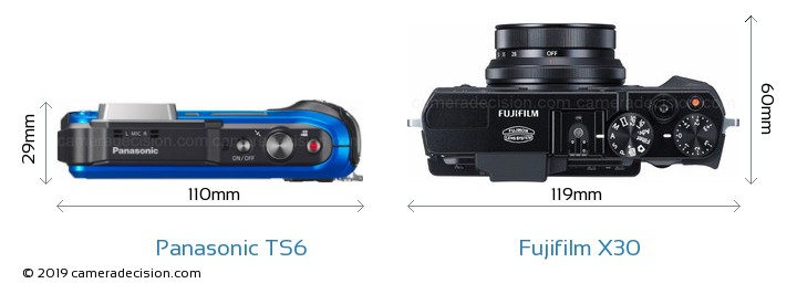 Panasonic TS6 vs Fujifilm X30 Camera Size Comparison - Top View