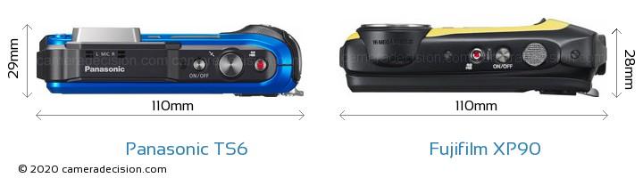 Panasonic TS6 vs Fujifilm XP90 Camera Size Comparison - Top View