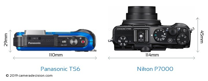 Panasonic TS6 vs Nikon P7000 Camera Size Comparison - Top View