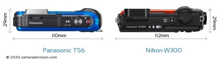 Panasonic TS6 vs Nikon W300 Camera Size Comparison - Top View