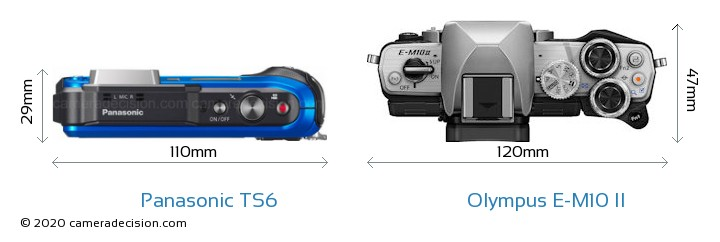 Panasonic TS6 vs Olympus E-M10 II Camera Size Comparison - Top View