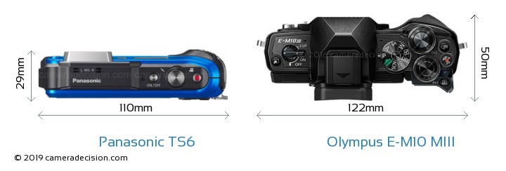 Panasonic TS6 vs Olympus E-M10 MIII Camera Size Comparison - Top View
