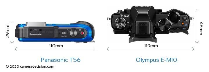 Panasonic TS6 vs Olympus E-M10 Camera Size Comparison - Top View