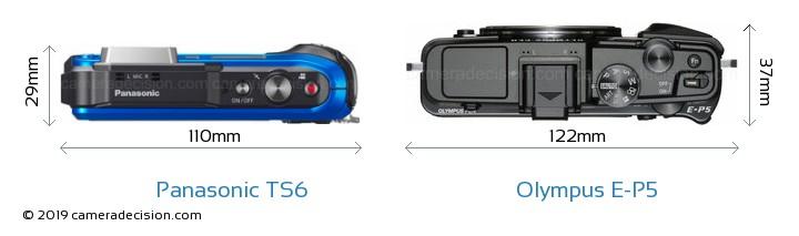 Panasonic TS6 vs Olympus E-P5 Camera Size Comparison - Top View
