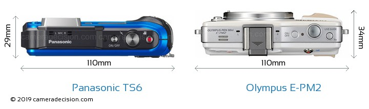 Panasonic TS6 vs Olympus E-PM2 Camera Size Comparison - Top View