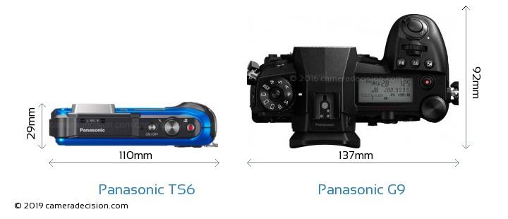 Panasonic TS6 vs Panasonic G9 Camera Size Comparison - Top View