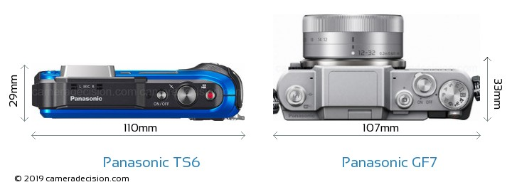 Panasonic TS6 vs Panasonic GF7 Camera Size Comparison - Top View