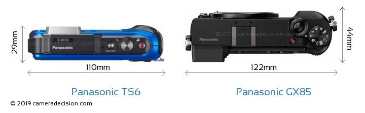 Panasonic TS6 vs Panasonic GX85 Camera Size Comparison - Top View