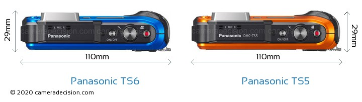 Panasonic TS6 vs Panasonic TS5 Camera Size Comparison - Top View