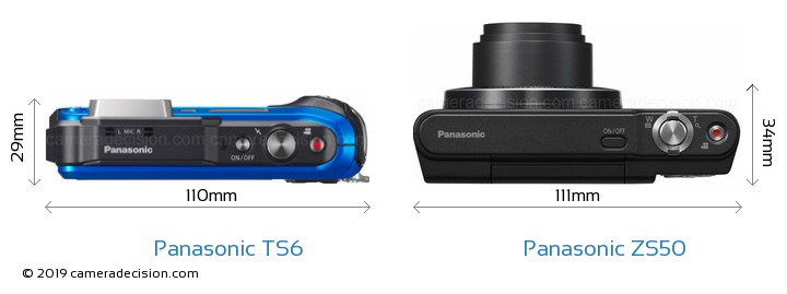 Panasonic TS6 vs Panasonic ZS50 Camera Size Comparison - Top View