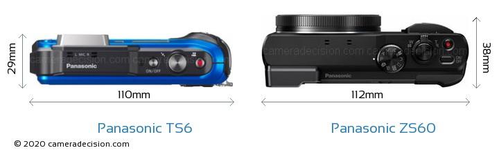 Panasonic TS6 vs Panasonic ZS60 Camera Size Comparison - Top View
