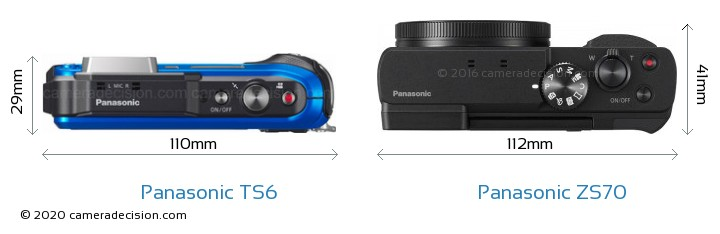 Panasonic TS6 vs Panasonic ZS70 Camera Size Comparison - Top View
