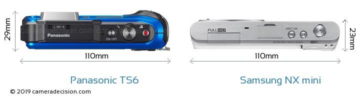 Panasonic TS6 vs Samsung NX mini Camera Size Comparison - Top View