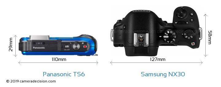 Panasonic TS6 vs Samsung NX30 Camera Size Comparison - Top View