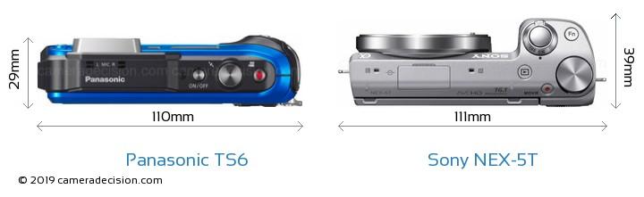 Panasonic TS6 vs Sony NEX-5T Camera Size Comparison - Top View