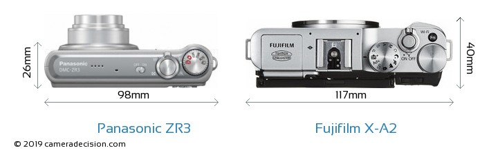 Panasonic ZR3 vs Fujifilm X-A2 Camera Size Comparison - Top View