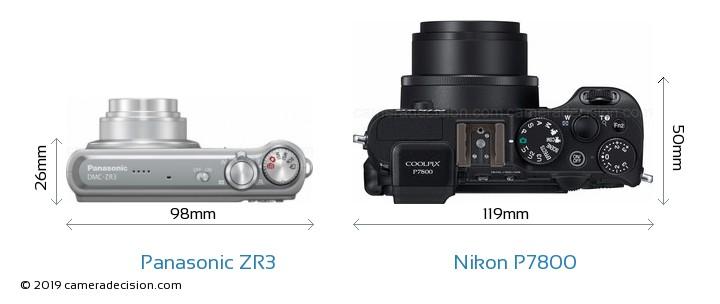 Panasonic ZR3 vs Nikon P7800 Camera Size Comparison - Top View
