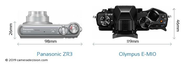 Panasonic ZR3 vs Olympus E-M10 Camera Size Comparison - Top View