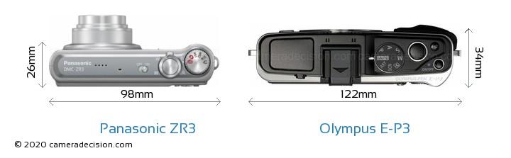 Panasonic ZR3 vs Olympus E-P3 Camera Size Comparison - Top View
