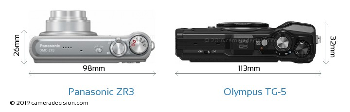 Panasonic ZR3 vs Olympus TG-5 Camera Size Comparison - Top View